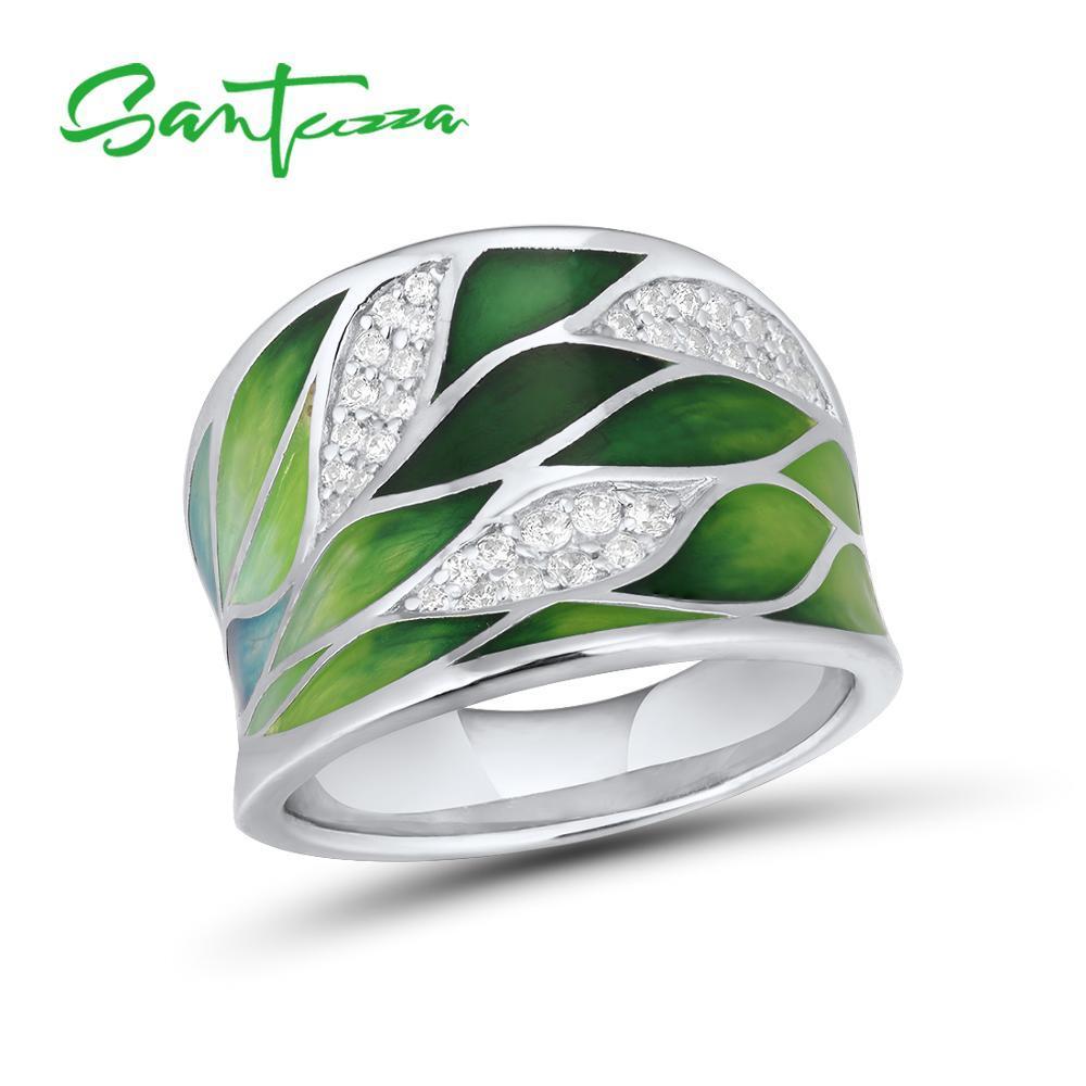 QIAMNI Handmade Black Leaf Knuckle Finger Ring Minimalist 925 Sterling Silver Leaves Jewelry Women Girls