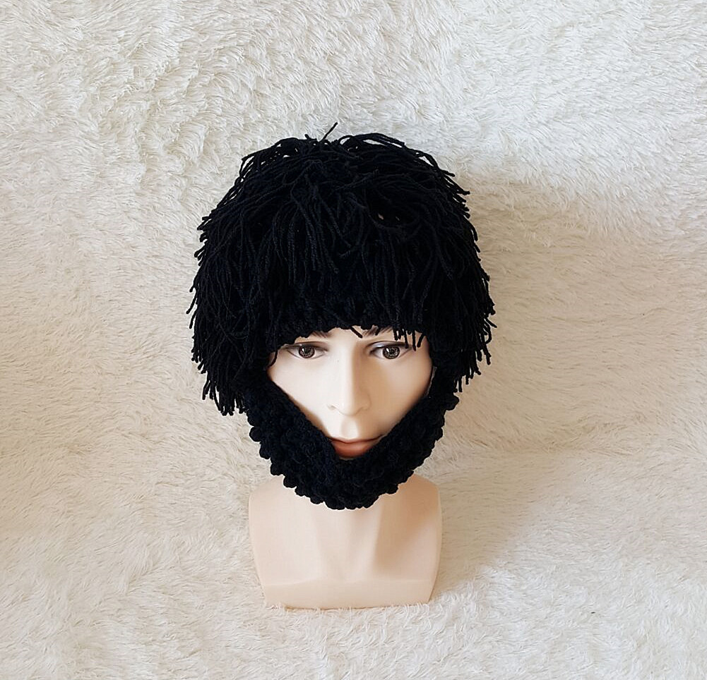 Hand-woven Children Adult Winter Crochet Beard Mustache Face Tassel Bicycle Mask Ski Warm Funny Hat Gift New C18112301