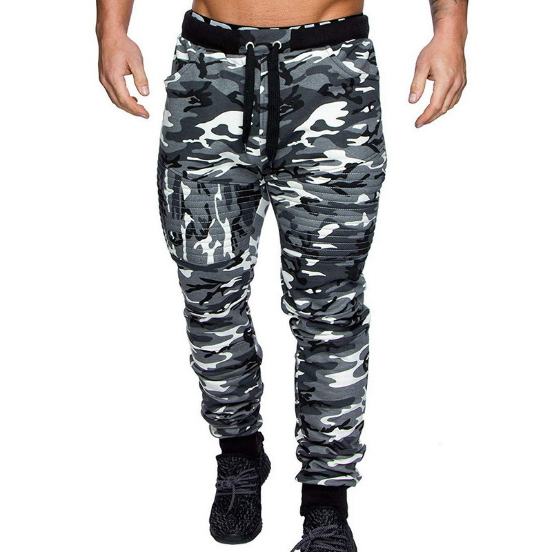 Nice Mens Winter Warm Drawstring Closure Slim Fit Camo Jogger Pants Gym Athletic Sweatpants Casual Camouflage Fitness Trousers