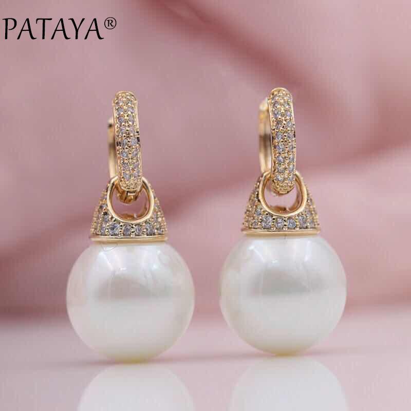 18K Plaqué or Rose Zircone cubique blanc cristal Shell Pearl Stud Dangle Fashion Boucle d/'oreille