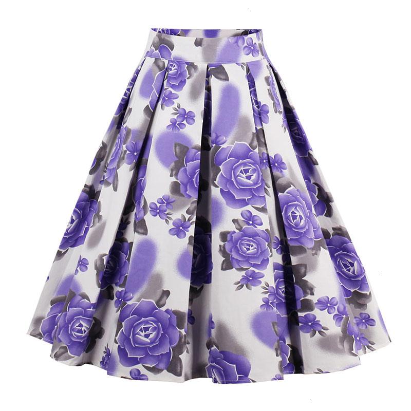 Kostlish Retro Print Flower Summer Skirts Womens High Waist Vintage Skirt Elegant A-Line Midi Women Skirt Plus Size XXL (16)