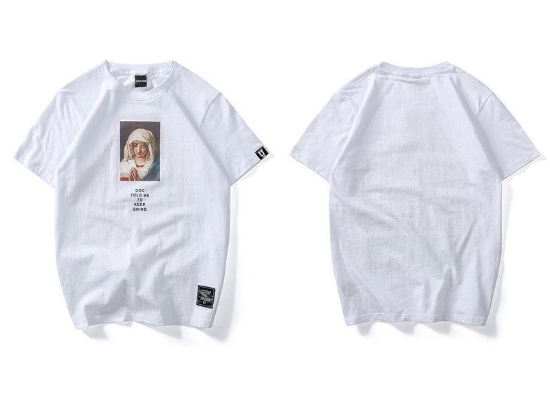 Virgin Mary Printed Short Sleeve T Shirts 1