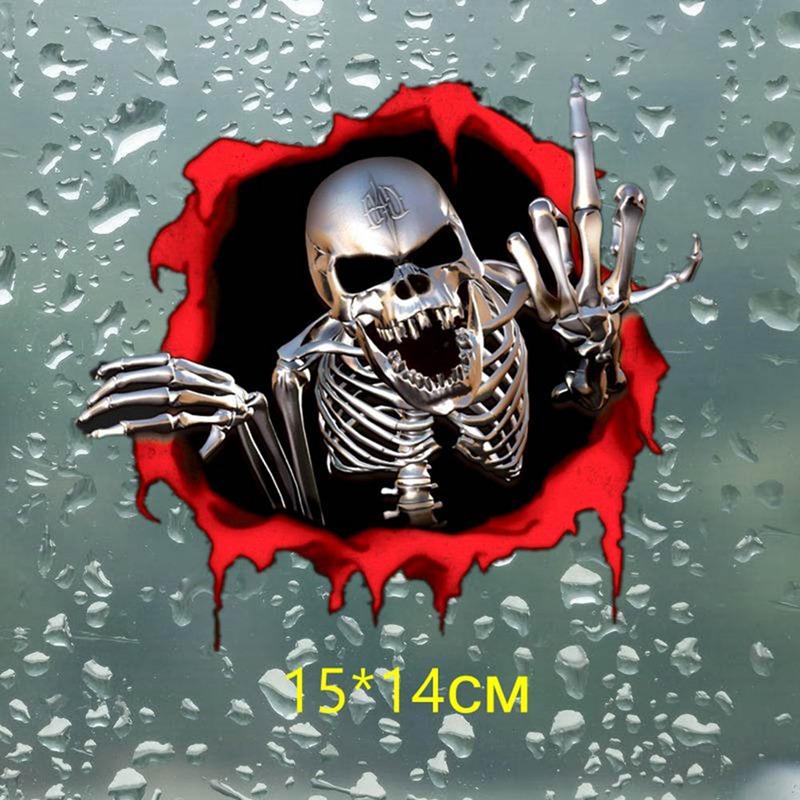 15*14cm cranio di scheletro di metallo nel foro di proiettile AUTO adesivo Colorato Auto Adesivo