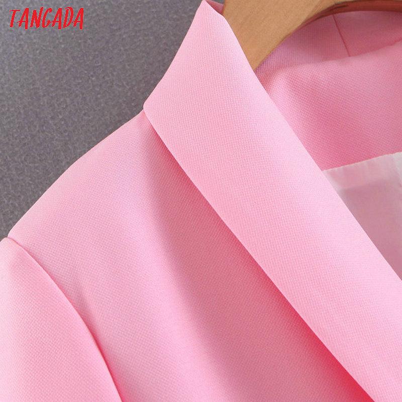 Tangada Moda Donna Blazer rosa Manica lunga Stile coreano Blazer femminile Donna Office High Street Outwear Sl271 Y190826