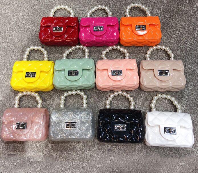 2020 PVC handbags Mini Jelly bag linger chain bags children Mini pearl bag baby satchel bag