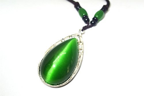 Silver Green Cat Eye Stone Pendant Rope Necklace Jewelry Gift Natural Gemstone Wholesale