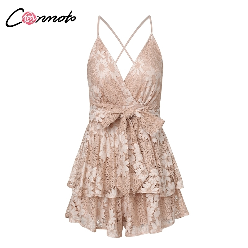 Conmoto Party White Lace Elegant Playsuits Women Beach Backless Sexy Playsuit Romper Bow Ruffles Short Jumpsuit Rompers C19042201