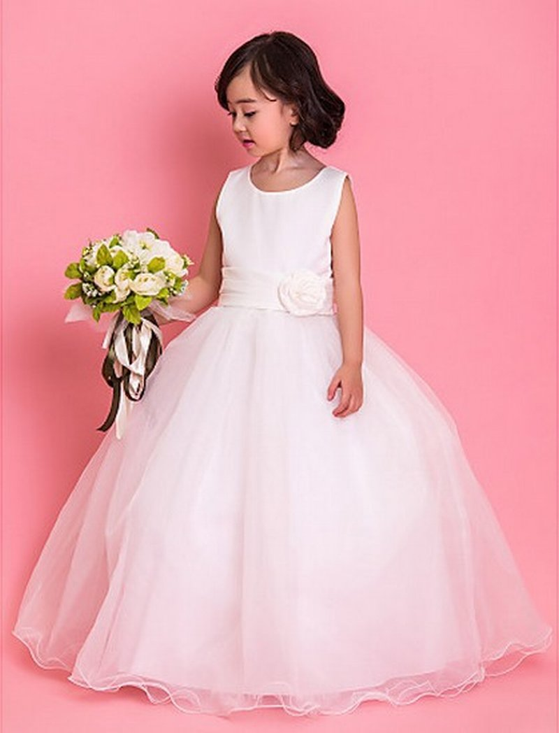 cf004d548b3 Ball Gown Long Custom Made Cute Simple White Flower Girl Dress Floor Length  Hand Made Flowers Kids Prom Birthday Dresses
