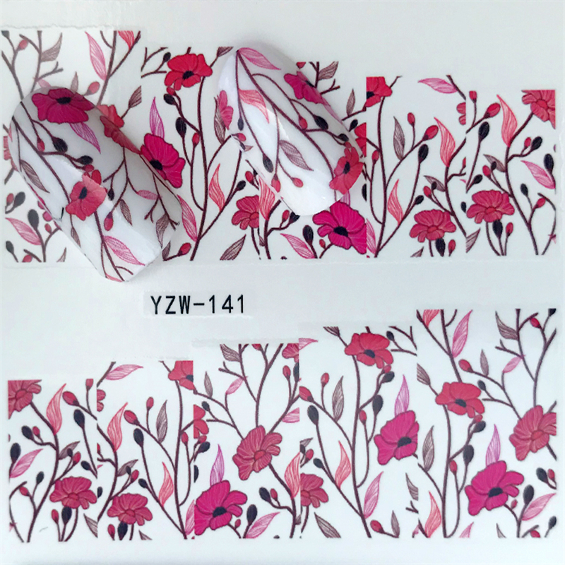 1 Sheets Valentine Colorful Sticker For Nail Art Decorations Red Rose Lipstick Water Transfer Decals