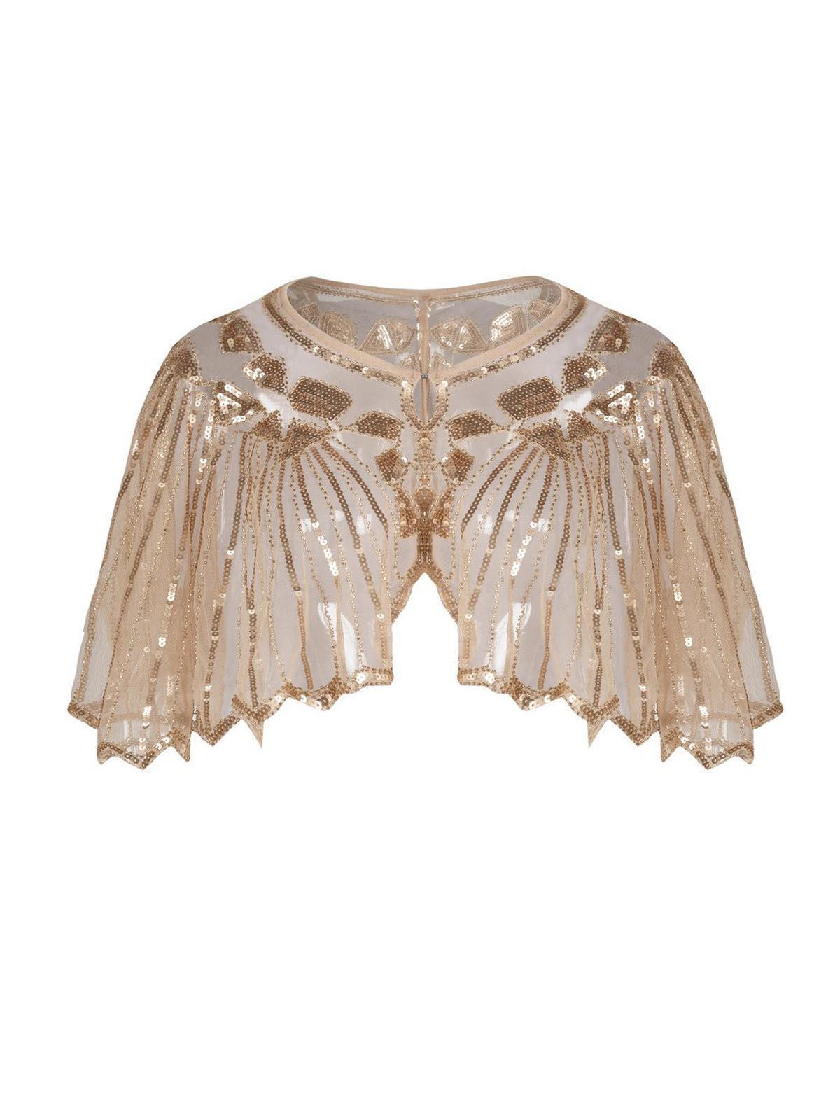 Fashion Women Fashion Beaded Sequin Deco Shawl Evening Flapper Cover up Fashion New Shawl for women