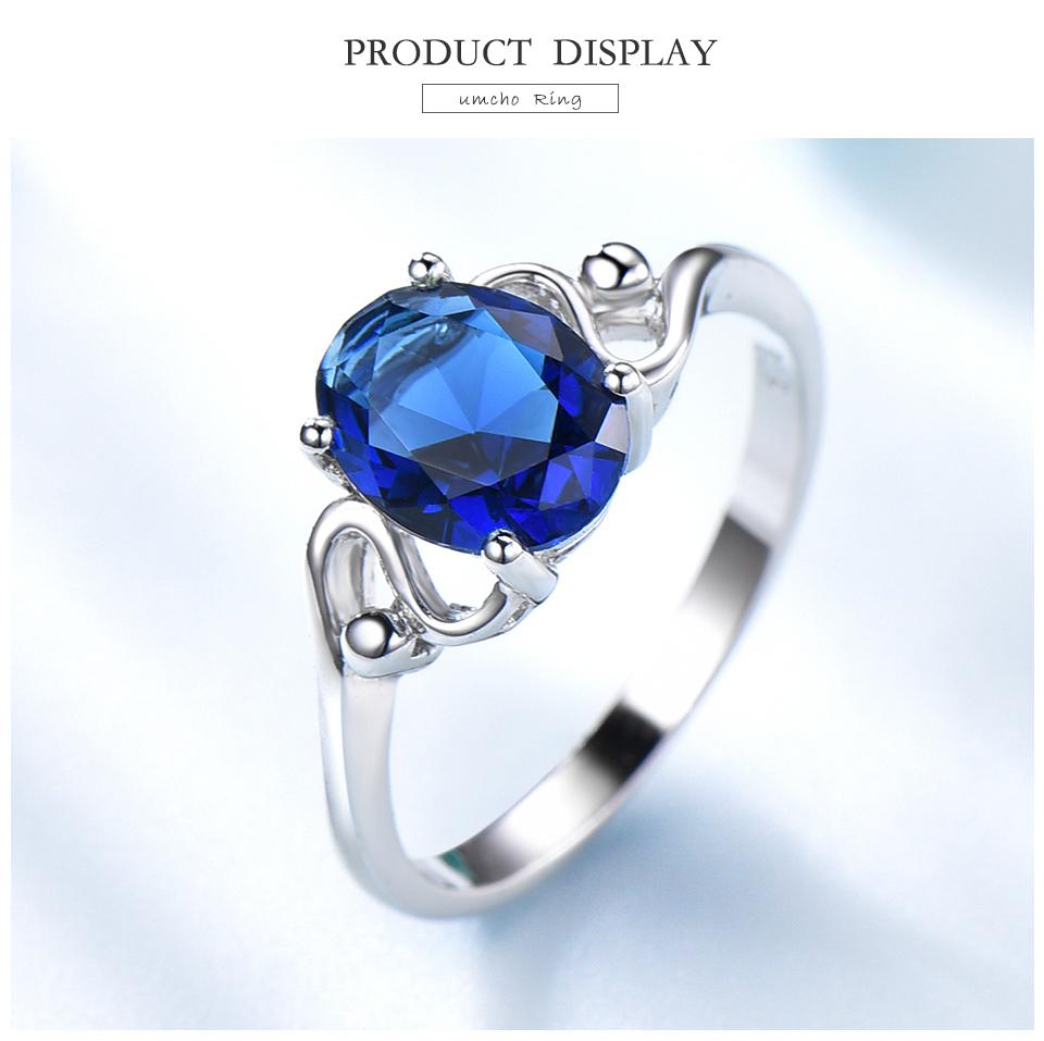 UMCHO Sapphire 925 sterling silver rings for women RUJ089S-1-PC (3)
