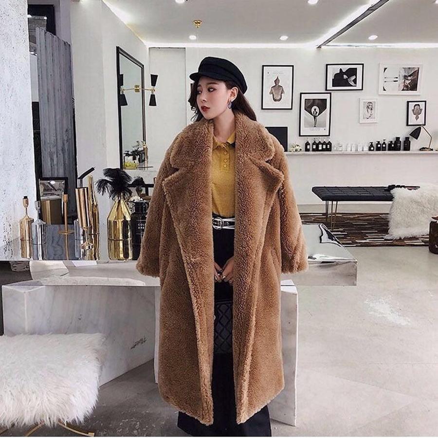 Les femmes Manteau en fausse fourrure en peluche ours brun en molleton Vestes Manteaux Veste Fuzzy épais manteau chaud long parka en peau de mouton
