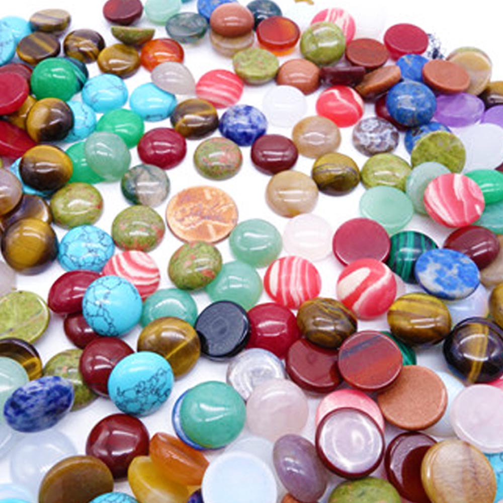 Wholesale Fashionable Natural Gem Stone Mixed Round Shape CAB CABOCHON Beads for Trendy Women Jewelry Accessories 10mm