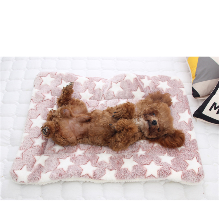 Pet Dog Cat Thickening Flannel Winter and Autumn Sleeping Mat Pad Double Sided Dog Sleeping Floor Mats Blanket Anti-slip Cushion