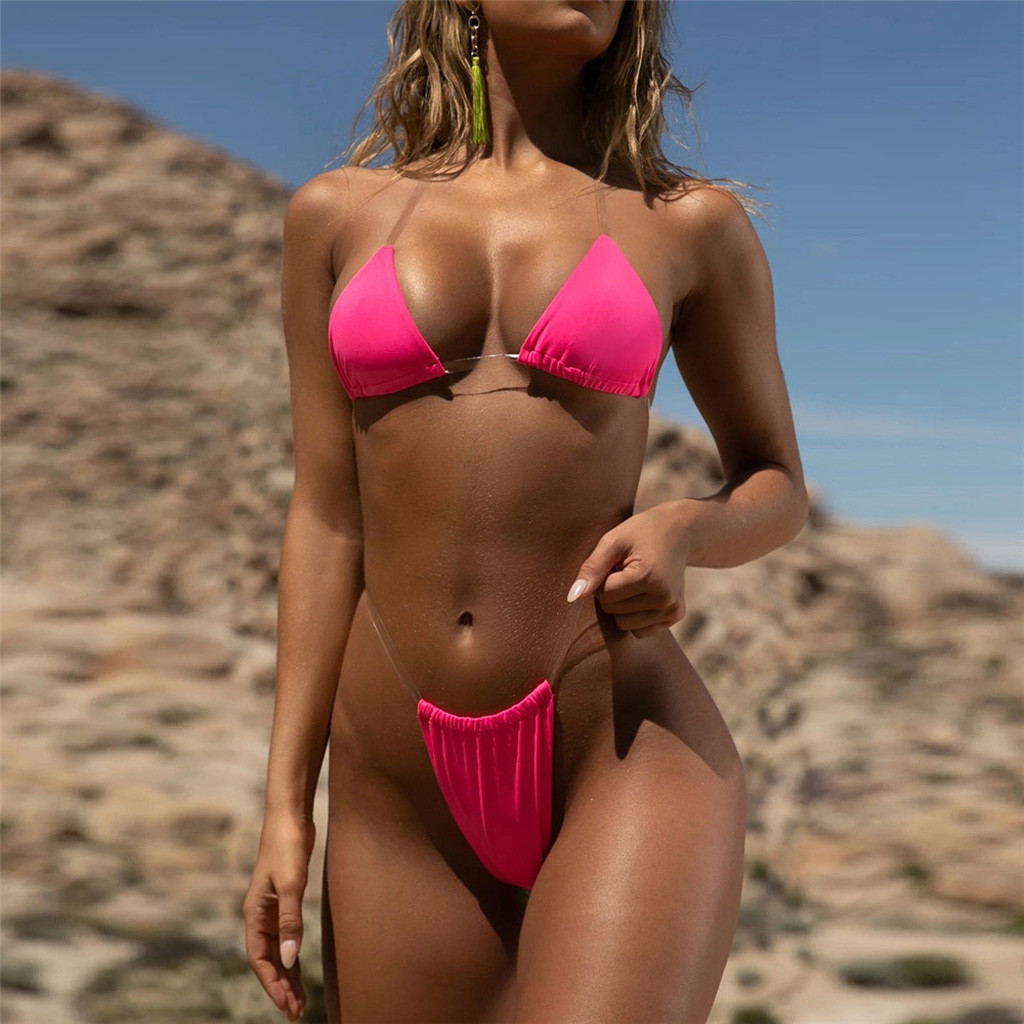 Träge! Damen Supersexy Micro String Bikini Bademode Tanga Push-up Bandeau