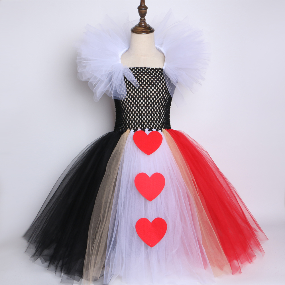 Black Red Queen Of Hearts Tutu Dress Alice In Wonderland Halloween Cosplay Costume For Girls Kids Birthday Party Dress 2-12 Year Y190515