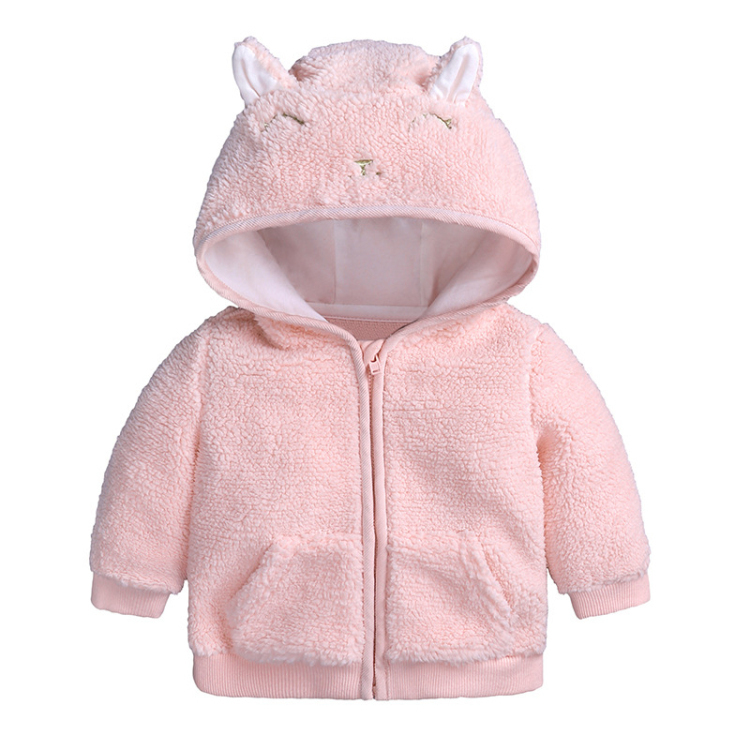 Pink hooded baby coat cute cartoon girls outfits (1)