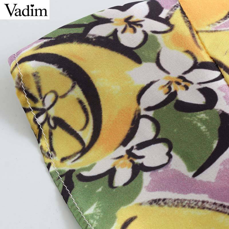 Vadim women lemon print wrap camis ruffled bow tie sleeveless adjustable straps crop top female chic cute summer blusas WA353 T519053003