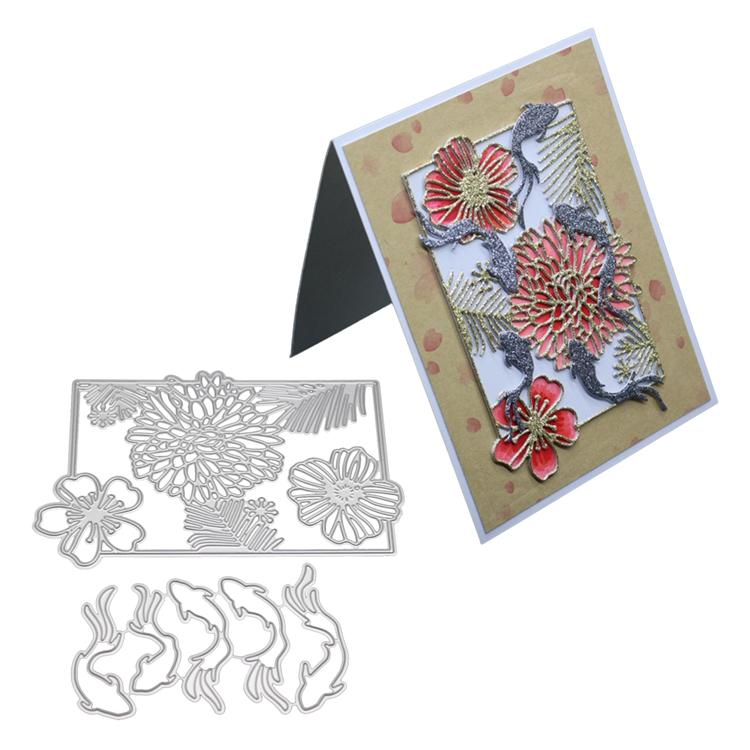 Floral Plata frustrado 3D Die Cut Decoupage A4 Hoja F116 sin corte Line