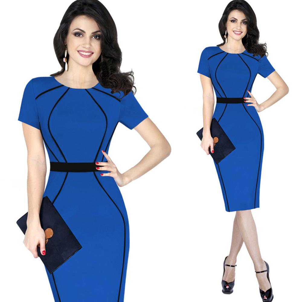 Kenancy 4xl Mujeres Elegante Color Block Block Patchwork Cloak Women Short Wear To Work Office Bodycon Pencil Dress Y19071001