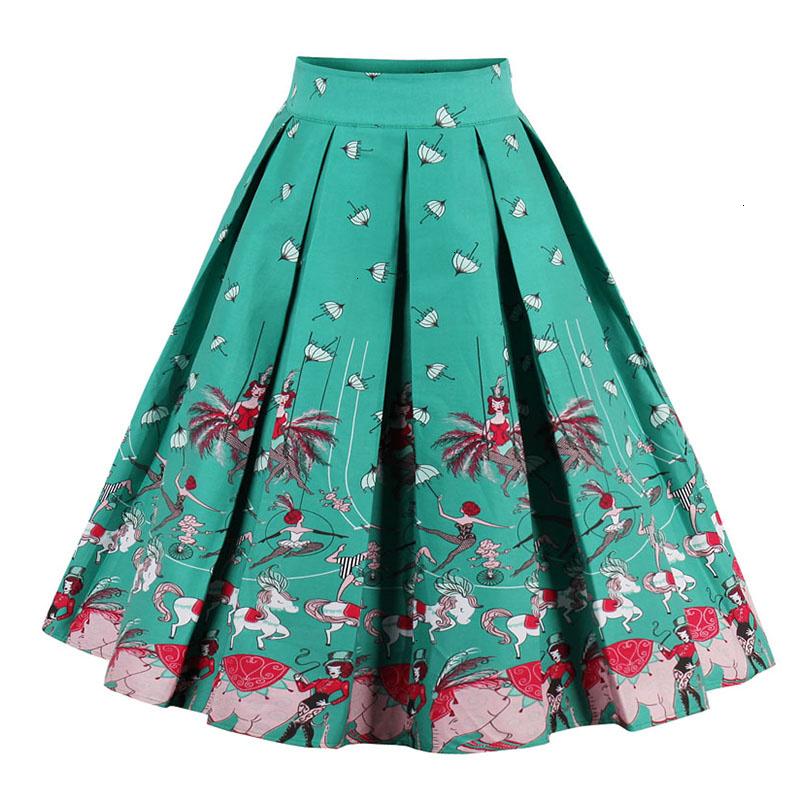 Kostlish Retro Print Flower Summer Skirts Womens High Waist Vintage Skirt Elegant A-Line Midi Women Skirt Plus Size XXL (18)