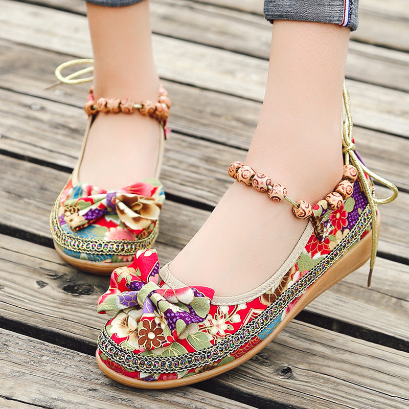 Designer Dress Shoes Big Size 34-42 Women Wedges Ankle Strap Pumps String Bead Woman Canvas Print Medium Heels Ladies zapatos mujer 6110