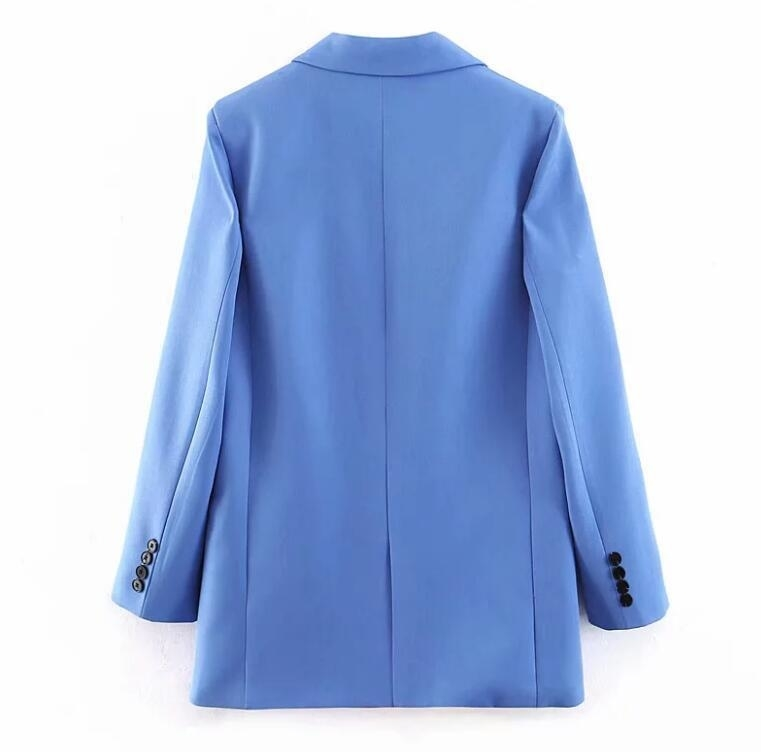 2019 Women Blue Small Suit Set Single Button Blazer Jacket High Waist Paperbag Pants Office Lady Formal Two Piece Set MX190809