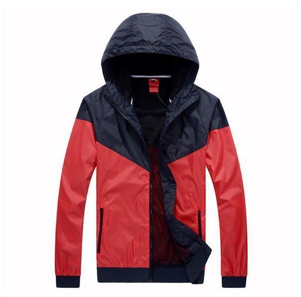 Athletic Men Women Jacket Fall Casual Sports Wear Clothing Windbreaker Hooded Zipper Up Coats Asian Size Need Two Size UP
