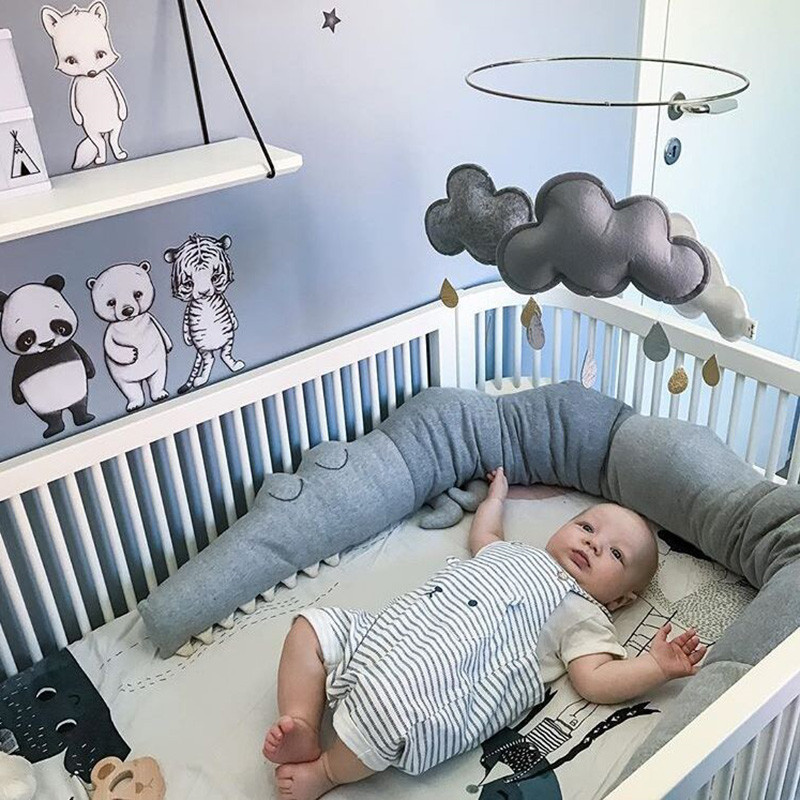 Anti-Collision PP Cotton Padding for Baby Games Childrens Room Printing Crib Pillow Safety Crash Barrier Long Pillow Baby Napping Pillow