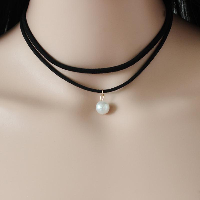 Girls Black PU Leather Cord Faux Pearl Choker Necklace Single FI