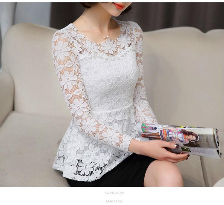 الصيف blusas peplum الأعلى 2018 أسود أبيض الدانتيل بلوزة النساء الاجتماعية طويلة الأكمام قميص الإناث خمر كشكش أعلى قميص فام