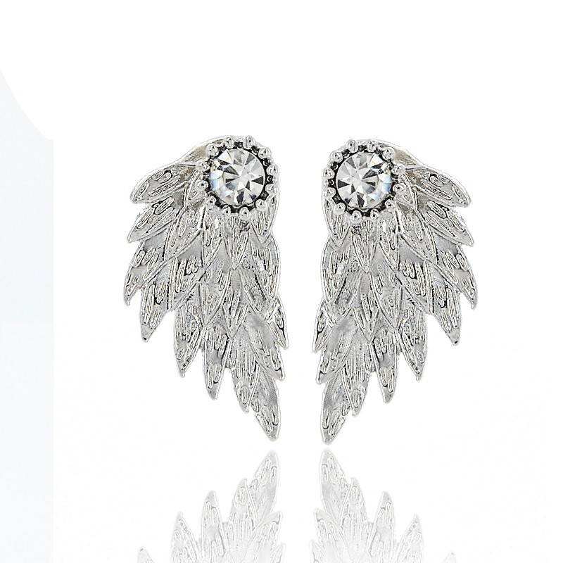 Gothic Silver Color Angel Wings Alloy Stud Cool Black Feather Earrings For Women Men Fashion Jewelry C19041101
