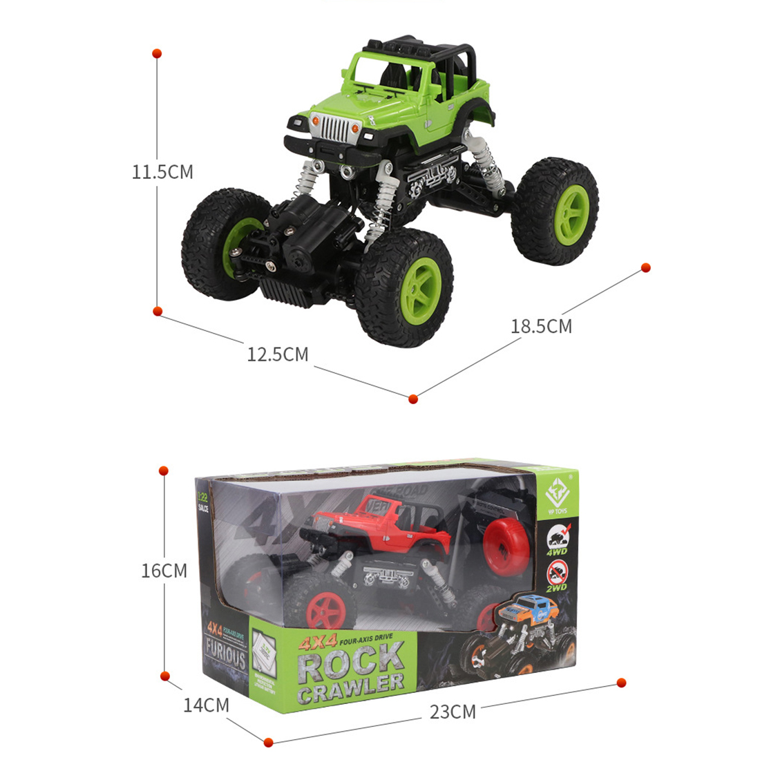 RC 4-Wheel Drive Off-Road Vehicle RC Climbing Car Shock Absorber Rubber Tire Remote Control Toy for Children - Green/Red