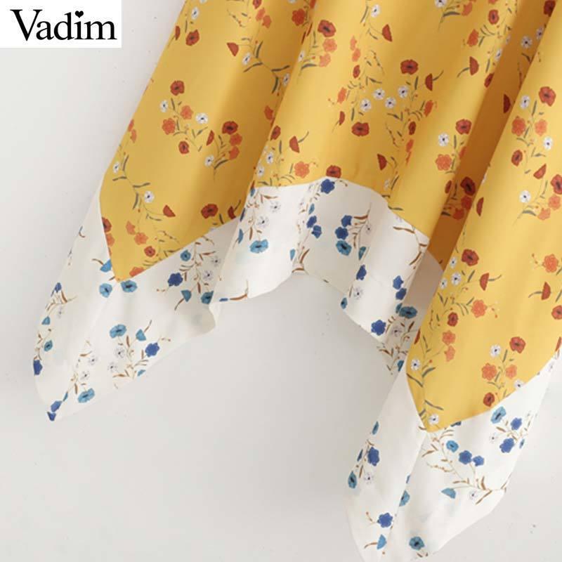 Vadim mujeres dulce estampado floral mini vestido patchwork correa de espagueti vestidos casuales irregulares amarillos lindos vestidos QC260 T519053003