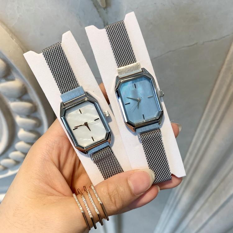 Novo estilo de vestido das mulheres assistir top relógios de luxo para senhora presente da menina do sexo feminino prata moda relógio de pulso relógio relogio feminino ímã bloqueio quadrado