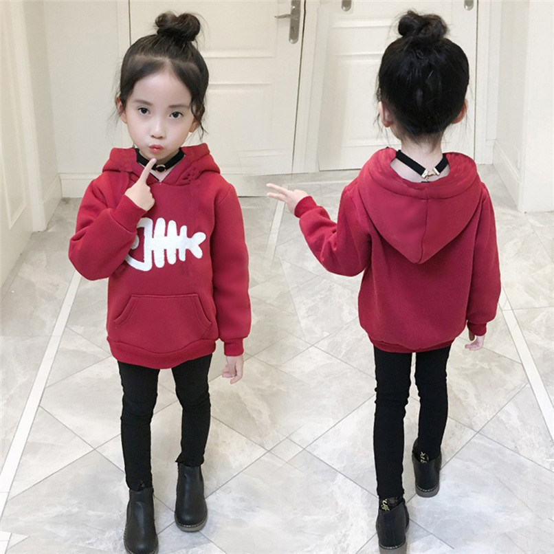 Kids Clothes Kids Hoodies Children Baby Girls Long Sleeve Fish Bone Printed Hooded Sweatshirt Tops Clothes Girls hoodies N01#F (16)
