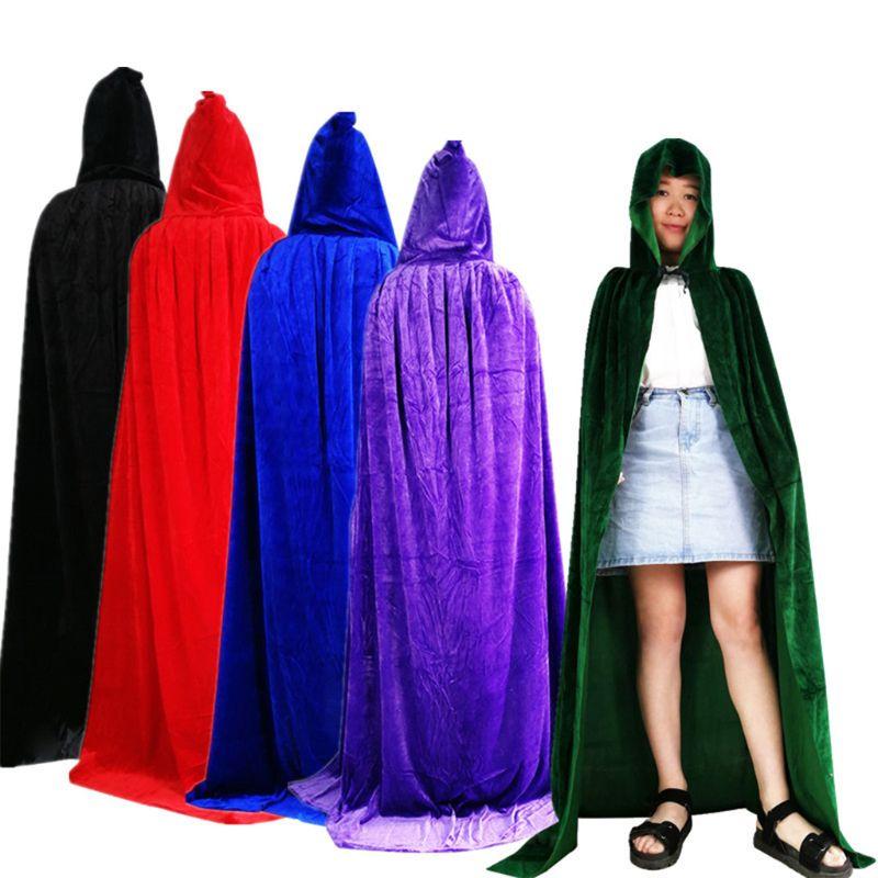 White Black Burgundy Man//Women Full Length Hooded Cloaks Cape Coats Vampire 2018
