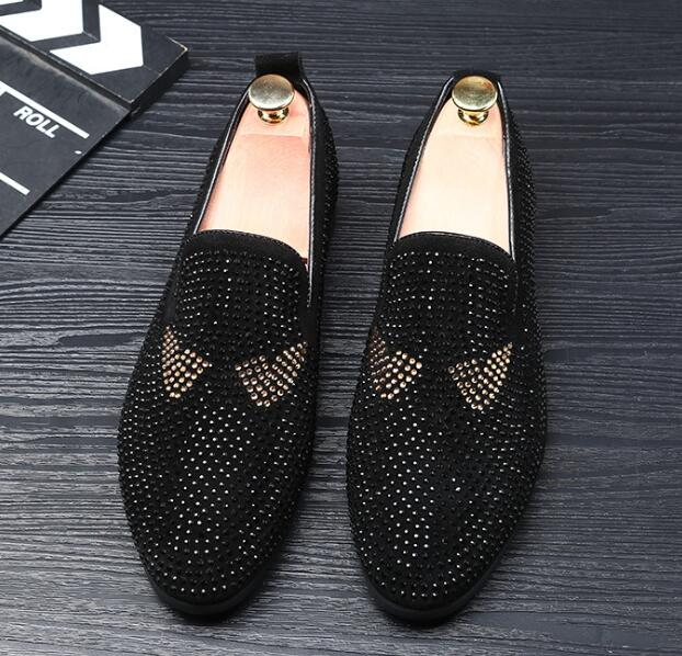 Hommes Fashion Casual Mocassins conduite chaussures noir en suédine Moccasin type Tailles 7-12