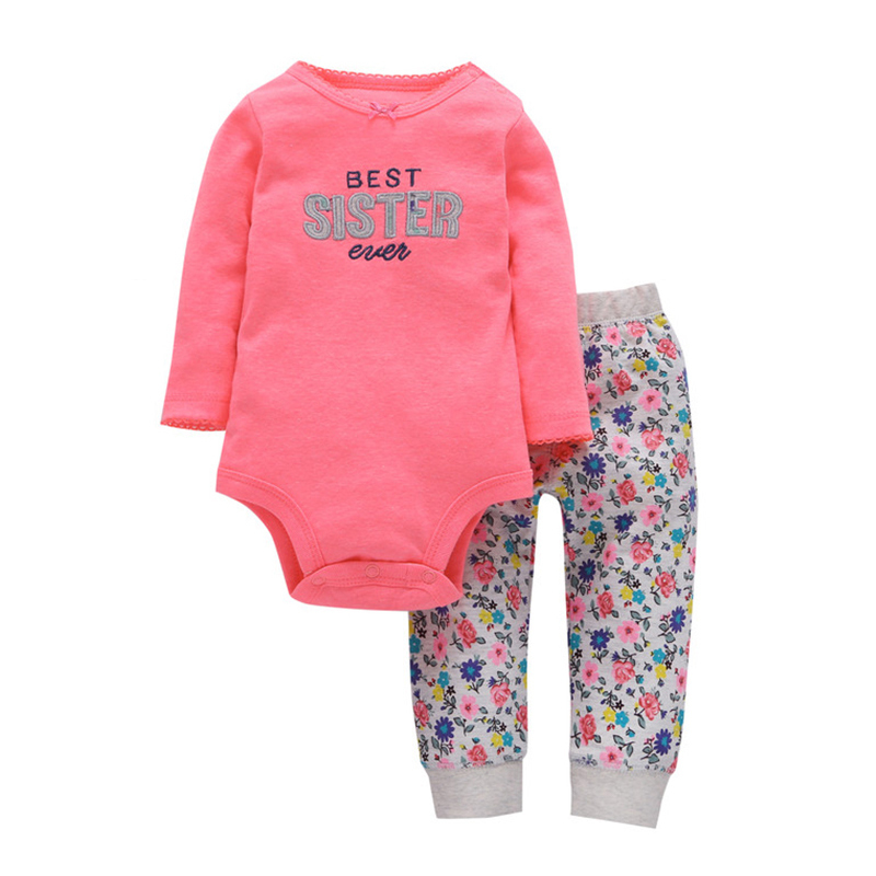 2018 Baby Sets Cotton Fashion Purple One Piece Super Cute Doted Romper Solid Gray Heart Full Length Pants 2 Pieces