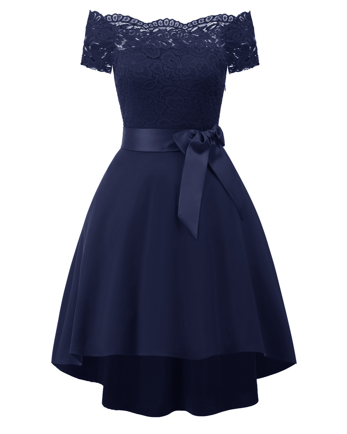 New Fashion Short Prom Dresses Navy Blue Boat Neck Pleated Robe Femme High-low Mini Formal Party Dress Plus Size Gown Y19042701