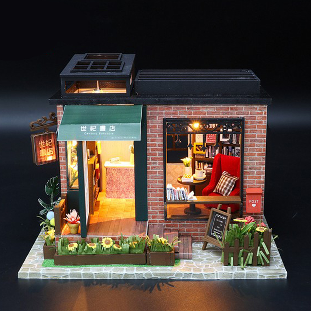 Dollhouse Miniatures DIY Great Handwork Kits with Furniture LED Books Sofa Desk Set Home Display Decoration