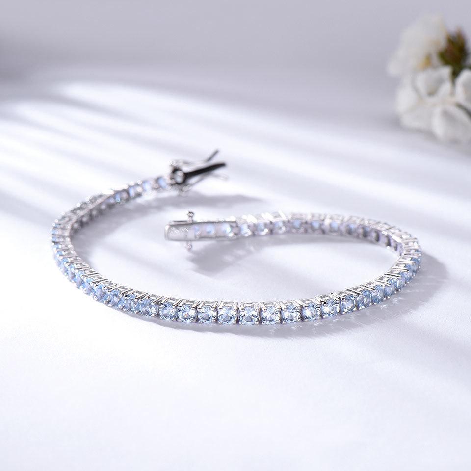 925 Sterling Silver sky blue topaz bracelet for women (3)
