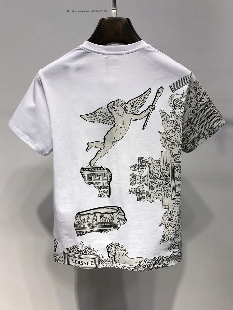Летняя мода круглый воротник весь хлопок с коротким рукавом футболки мужской мультфильм тонкая печать студенческие футболки для мужчин 0308