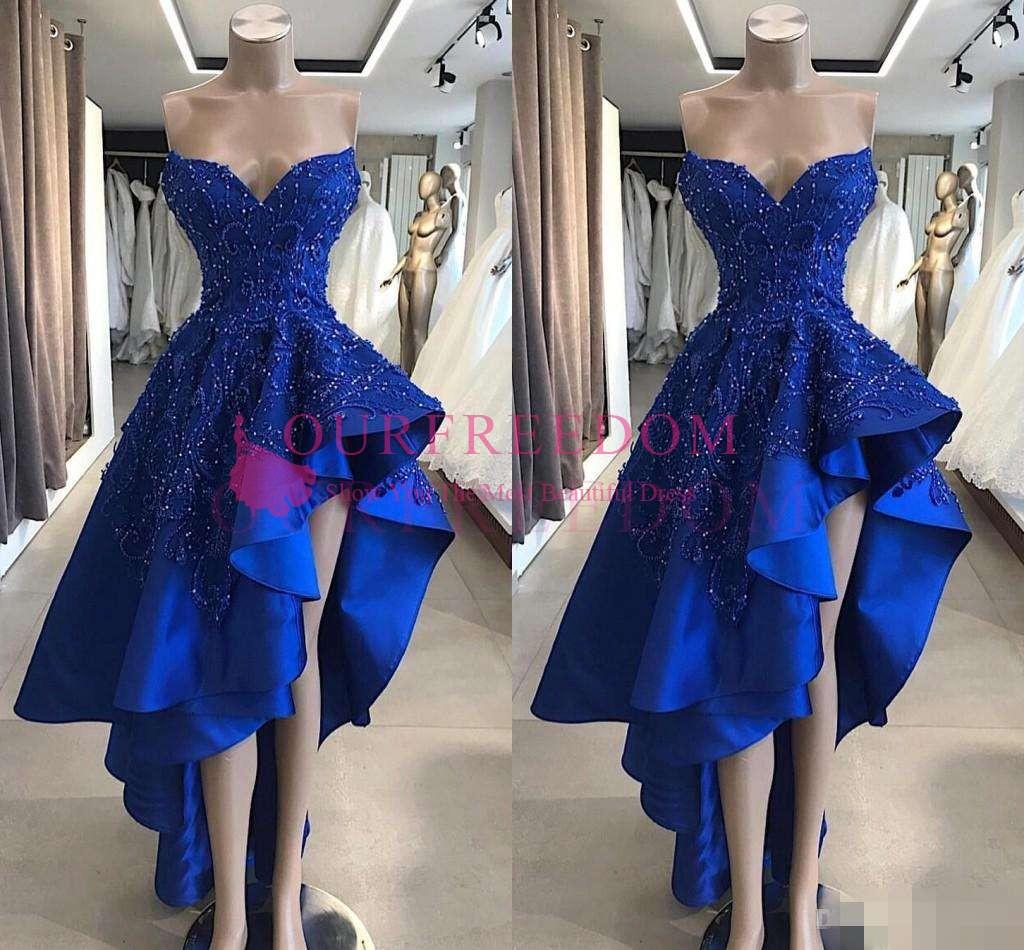 Vintage Royal Blue Short High Low Prom Kleider Real Image A Line Perlen  Appliques Schatz Asymmetrische lange Abend Party Kleider