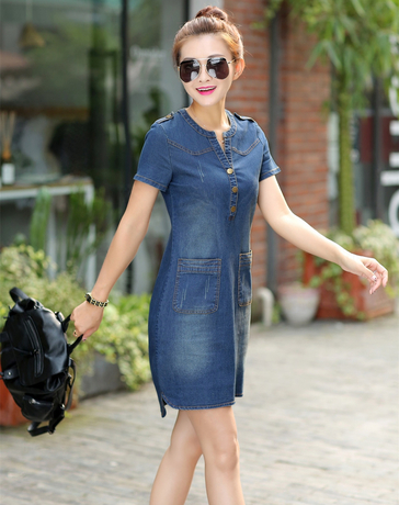 Summer 2018 Korean Denim Female Dress With Short Sleeves Loose Large Size V-neck Thin Dress For Women Plus Size 176a 45 Y19053001