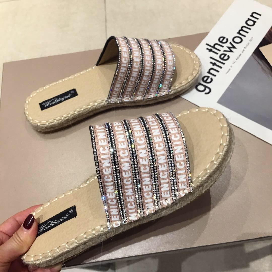 Crystal2019 Straw Time Leisure Kıvrımlı Makale Sandalet Kadın Düz Alt Roma Tüm Maç Ayakkabı Balıkçı Ayakkabı
