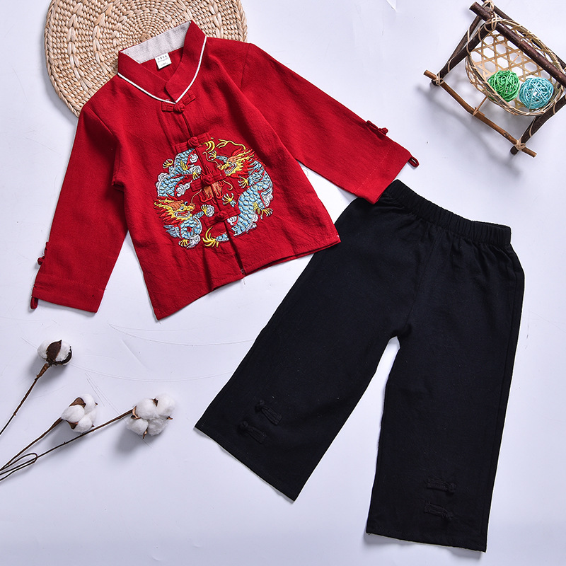 Toddler Baby Kid Tang Suit Embroidery Rompers New Year/'s Jumpsuits Chinese Style