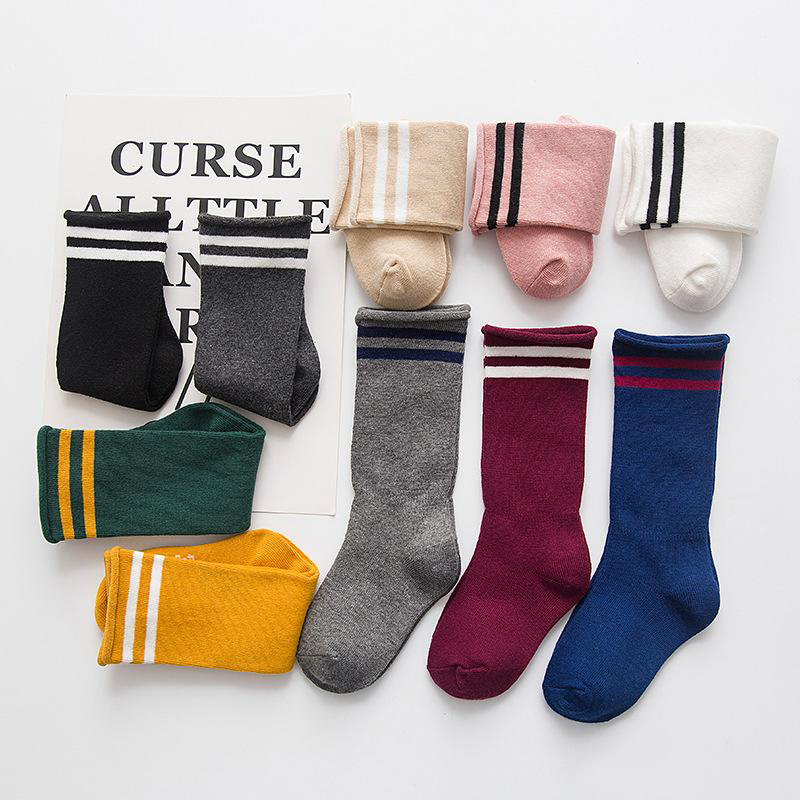 Boys Girls Toddler Kids Knee High Length Cotton Stripes School Sport Socks—AB