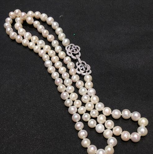 """4strands 19/"""" 9mm baroque black FW pearl necklace"""