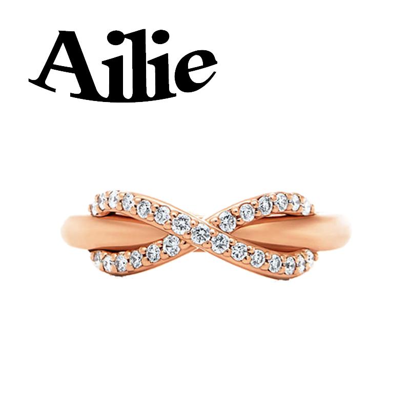 Ailey alta qualidade 925 prata esterlina anel arco rodada tipo talão originais ouro rosa clássico Jane dama da moda presente da jóia casal